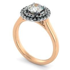 HRRSD823 Round Halo Diamond Ring - rose