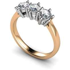 HRRTR101 3 Round Diamonds Trilogy Ring - rose