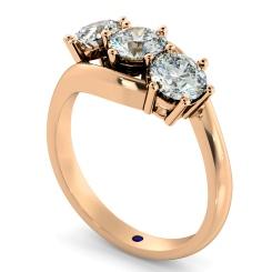 HRRTR106 3 Round Diamonds Trilogy Ring - rose