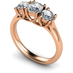 HRRTR119 Round 3 Stone Diamond Ring - rose