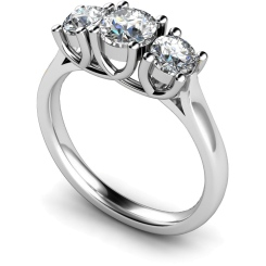 HRRTR119 Round 3 Stone Diamond Ring - white