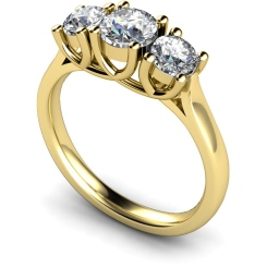 HRRTR119 Round 3 Stone Diamond Ring - yellow