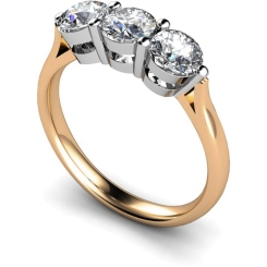 HRRTR120 3 Round Diamonds Trilogy Ring - rose