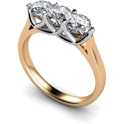HRRTR126 3 Round Diamonds Trilogy Ring - rose