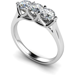 HRRTR126 3 Round Diamonds Trilogy Ring - white