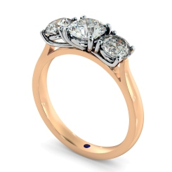 HRRTR149 Round 3 Stone Diamond Ring - rose