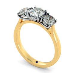HRRTR149 Round 3 Stone Diamond Ring - yellow