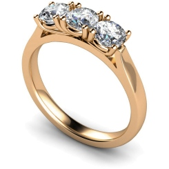 HRRTR150 3 Round Diamonds Trilogy Ring - rose
