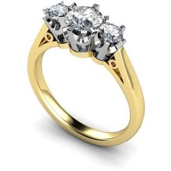 HRRTR158 Round 3 Stone Diamond Ring - yellow