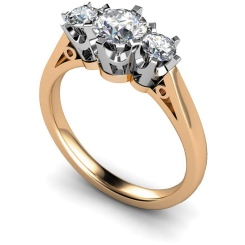 HRRTR158 Round 3 Stone Diamond Ring - rose