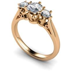 HRRTR158 Round 3 Stone Diamond Ring - rose