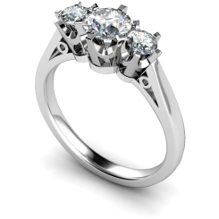 HRRTR158 Round 3 Stone Diamond Ring - white