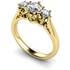 HRRTR158 Round 3 Stone Diamond Ring - yellow