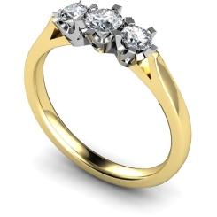 HRRTR159 Round 3 Stone Diamond Ring - yellow