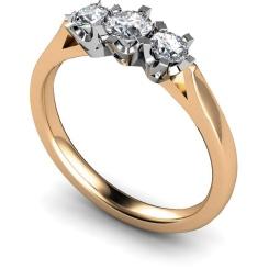 HRRTR159 Round 3 Stone Diamond Ring - rose