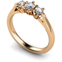 HRRTR159 Round 3 Stone Diamond Ring - rose
