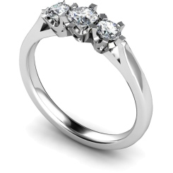HRRTR159 Round 3 Stone Diamond Ring - white