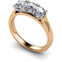 HRRTR160 3 Round Diamonds Trilogy Ring - rose