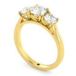 HRRTR167 Round 3 Stone Diamond Ring - yellow