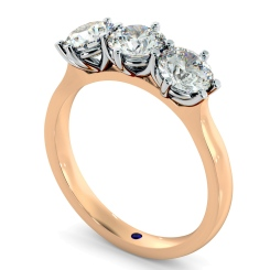 HRRTR189 3 Round Diamonds Trilogy Ring - rose