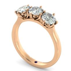 HRRTR189 3 Round Diamonds Trilogy Ring - rose