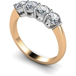 HRRTR195 Round 4 Stone Diamond Ring - rose