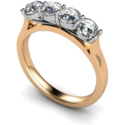 HRRTR197 Round 4 Stone Diamond Ring - rose