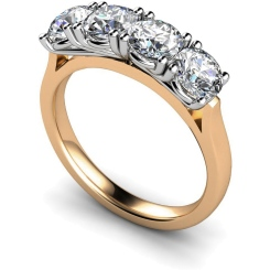 HRRTR199 Round 4 Stone Four Claws Diamond Ring - rose
