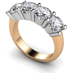 HRRTR200 Round 4 Stone Diamond Ring - rose