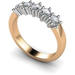 HRRTR201 Round 5 Stone Diamond Ring - rose
