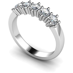 HRRTR201 Round 5 Stone Diamond Ring - white