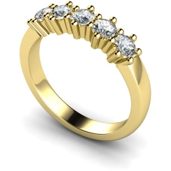 HRRTR201 Round 5 Stone Diamond Ring - yellow