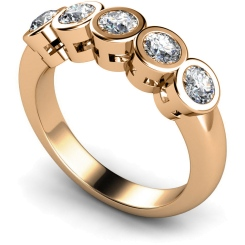 HRRTR202 Round 5 Stone Diamond Ring - rose