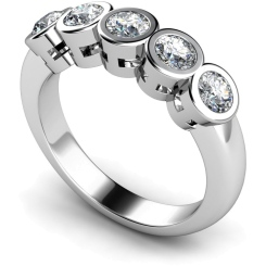 HRRTR202 Round 5 Stone Diamond Ring - white