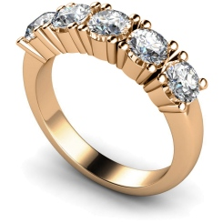 HRRTR203 Round 5 Stone Diamond Ring - rose