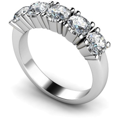 HRRTR203 Round 5 Stone Diamond Ring - white