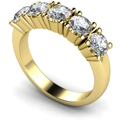 HRRTR203 Round 5 Stone Diamond Ring - yellow