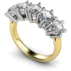 HRRTR205 Round 5 Stone Diamond Ring - yellow