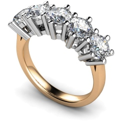 HRRTR205 Round 5 Stone Diamond Ring - rose