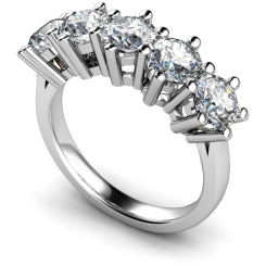 HRRTR205 Round 5 Stone Diamond Ring - white