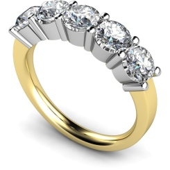 HRRTR206 Round 5 Stone Diamond Ring - yellow