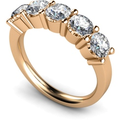 HRRTR206 Round 5 Stone Diamond Ring - rose