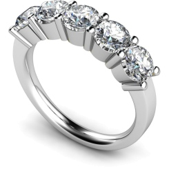 HRRTR206 Round 5 Stone Diamond Ring - white