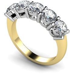 HRRTR208 Round 5 Stone Diamond Ring - yellow