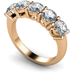 HRRTR208 Round 5 Stone Diamond Ring - rose