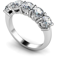 HRRTR208 Round 5 Stone Diamond Ring - white