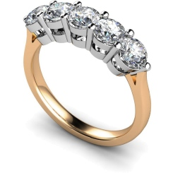 HRRTR211 Round 5 Stone Diamond Ring - rose