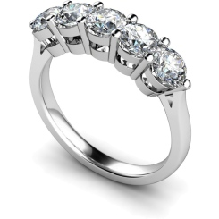 HRRTR211 Round 5 Stone Diamond Ring - white