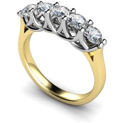 HRRTR212 Round 5 Stone Diamond Ring - yellow