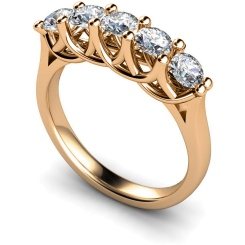 HRRTR212 Round 5 Stone Diamond Ring - rose